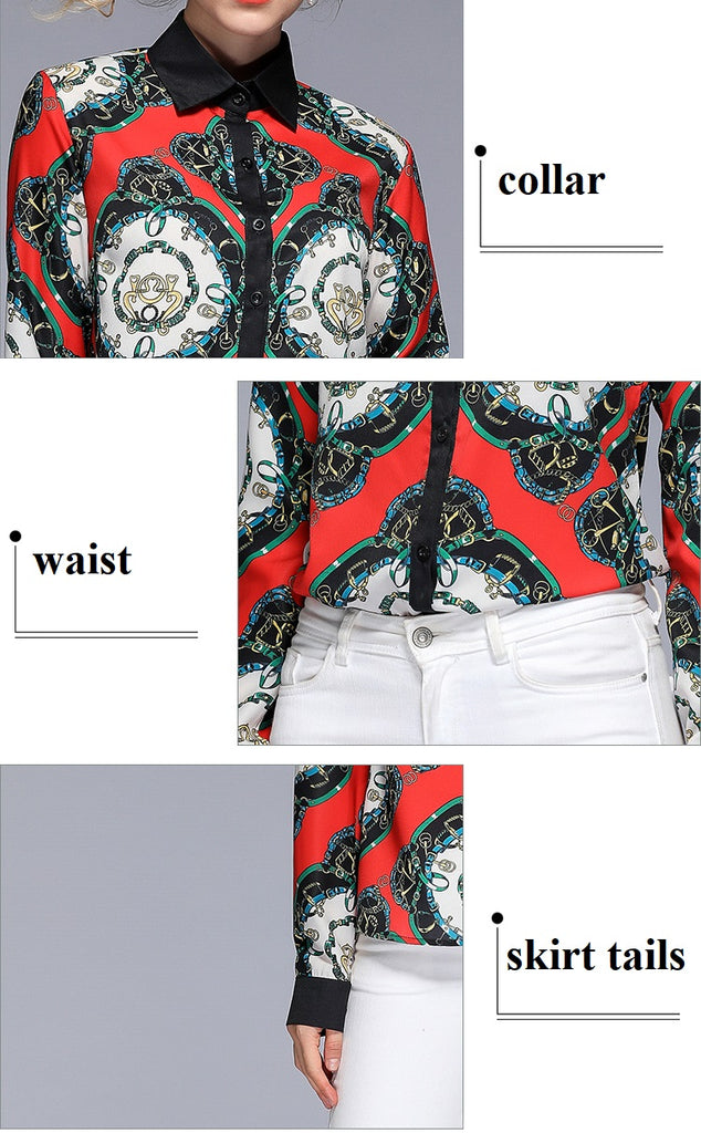 European style lady fit shirt--pattern printed--red green--YNSHCH-193203