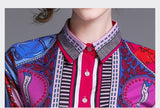 European style lady shirt--fit--pattern printed--pink blue--HCX-1802