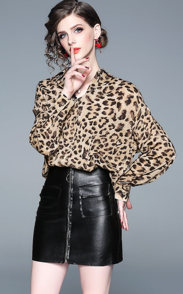 European style lady shirt--loose--leopard printed--brown--HCX-8994