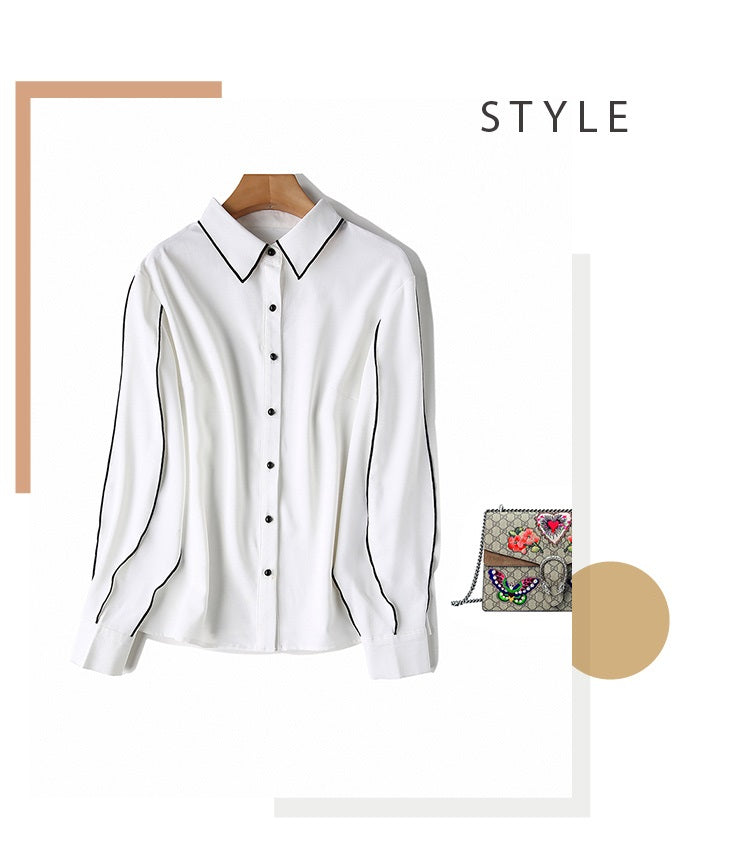 European style lady fit shirt--patchwork--white black--YNSHCH-751918