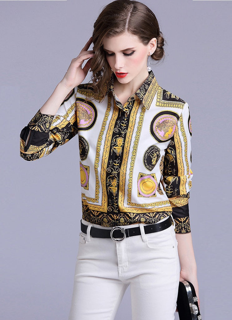 European style lady shirt--fit--pattern printed--yellow--YNSHCH-6069613