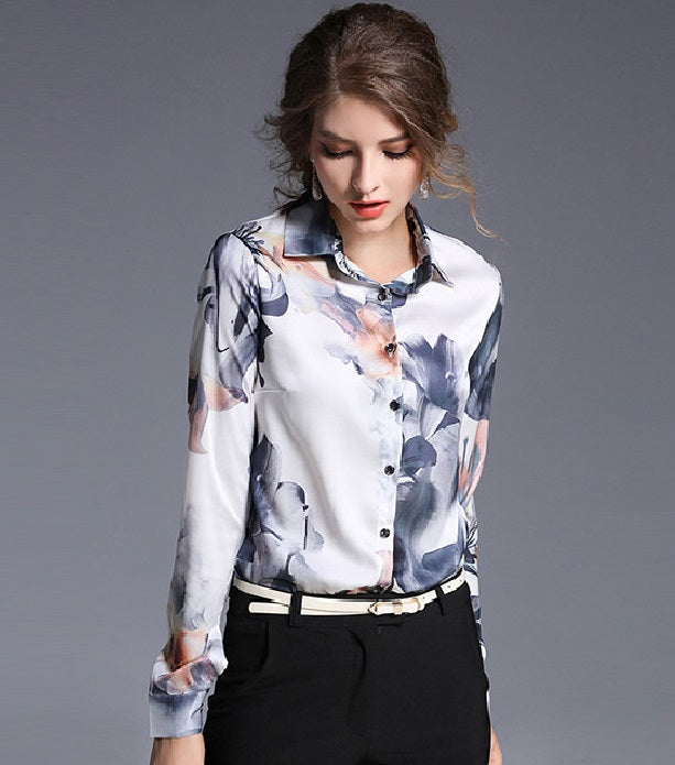 European style lady shirt--fit--flower printed--blue white--HCX- H149