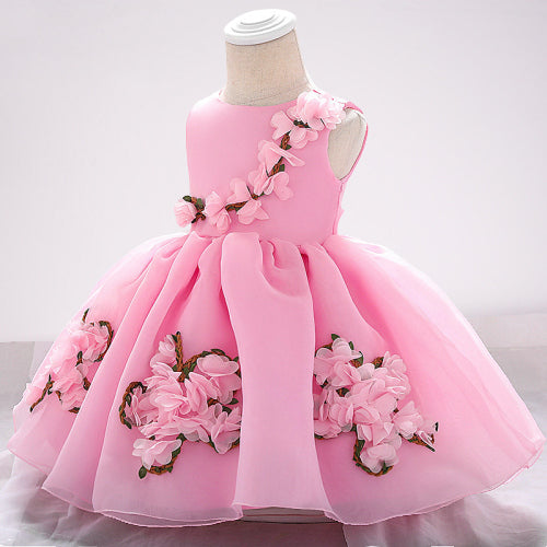baby girl's party dress--height 60cm-90cm--3D flower--pink-L1883XZ