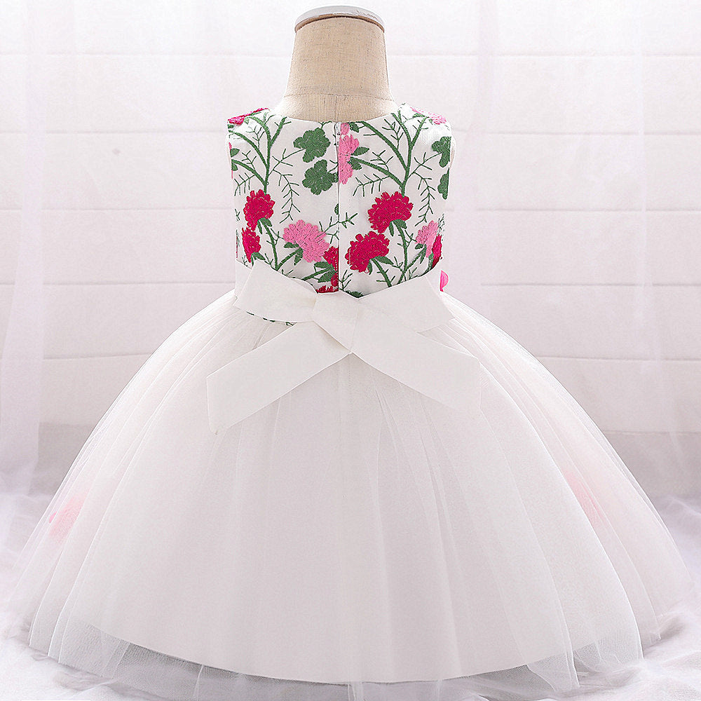 baby girl's party dress--height 60cm-90cm--embroidered flower--hot pink--L1878XZ