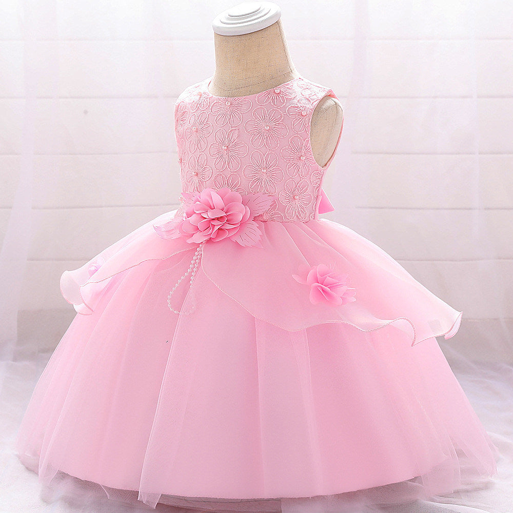 baby girl's party dress--height 60cm-90cm--embroidered flower--pink--L1880XZ