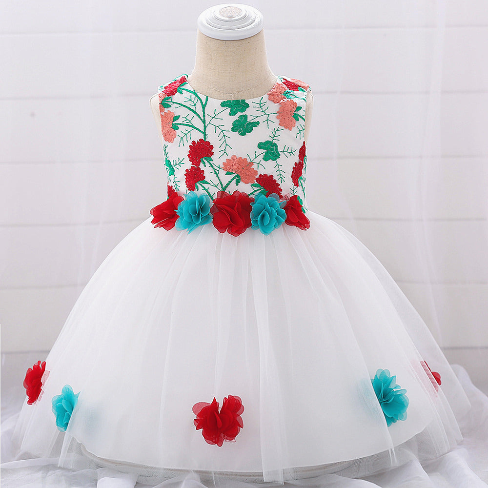 baby girl's party dress--height 60cm-90cm--embroidered flower--red--L1878XZ