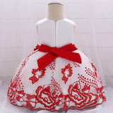 baby girl's party dress--height 60cm-90cm--embroidered flower--red--L1907XZ