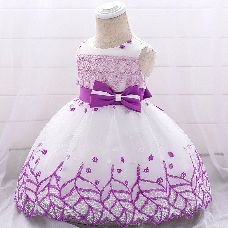 baby girl's party dress--height 60cm-90cm--embroidered leaves--purple--L1909XZ