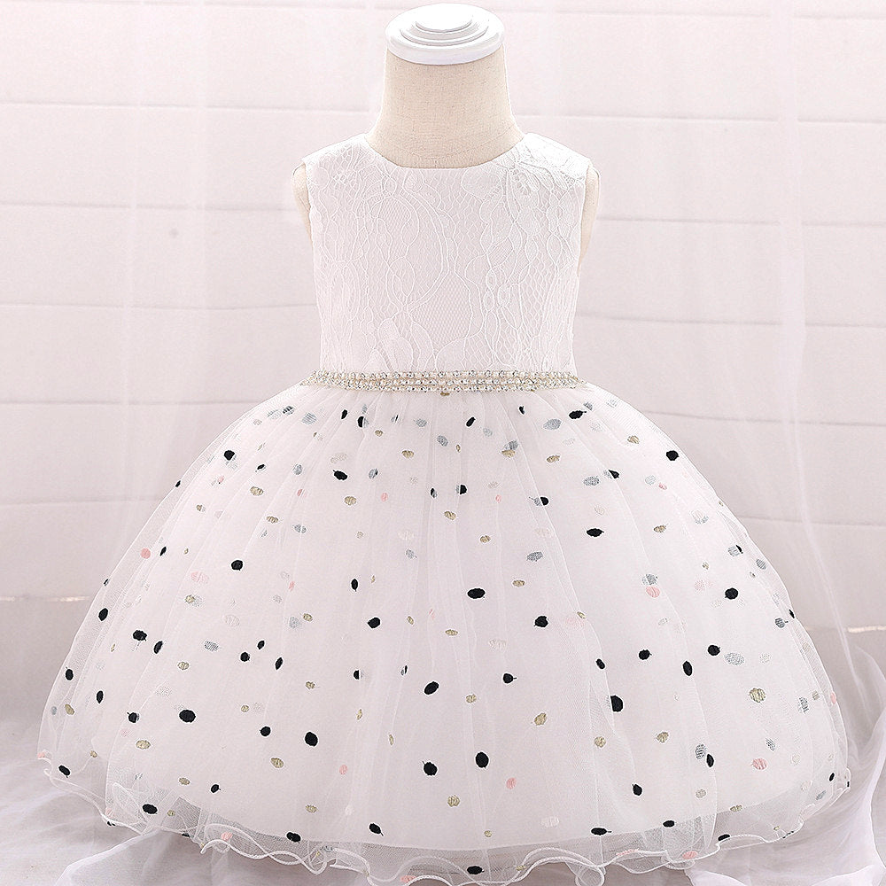 baby girl's party dress--height 60cm-90cm--embroidered dot--white champagne--L1900XZ