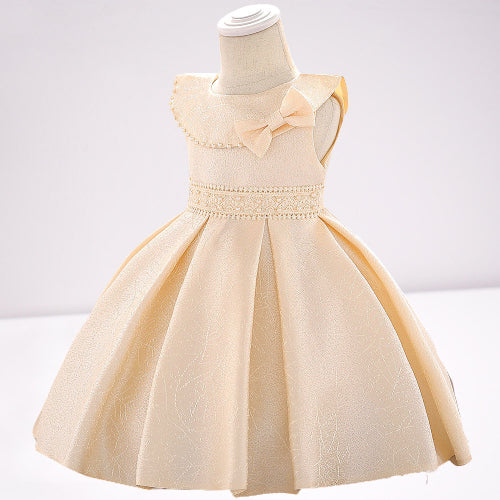 baby girl's party dress--height 60cm-90cm--lace beads--champagne--L1905XZ