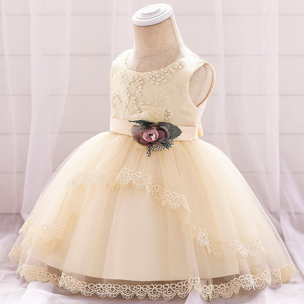 baby girl's party dress--height 60cm-90cm--lace flower--champagne--L1886XZ
