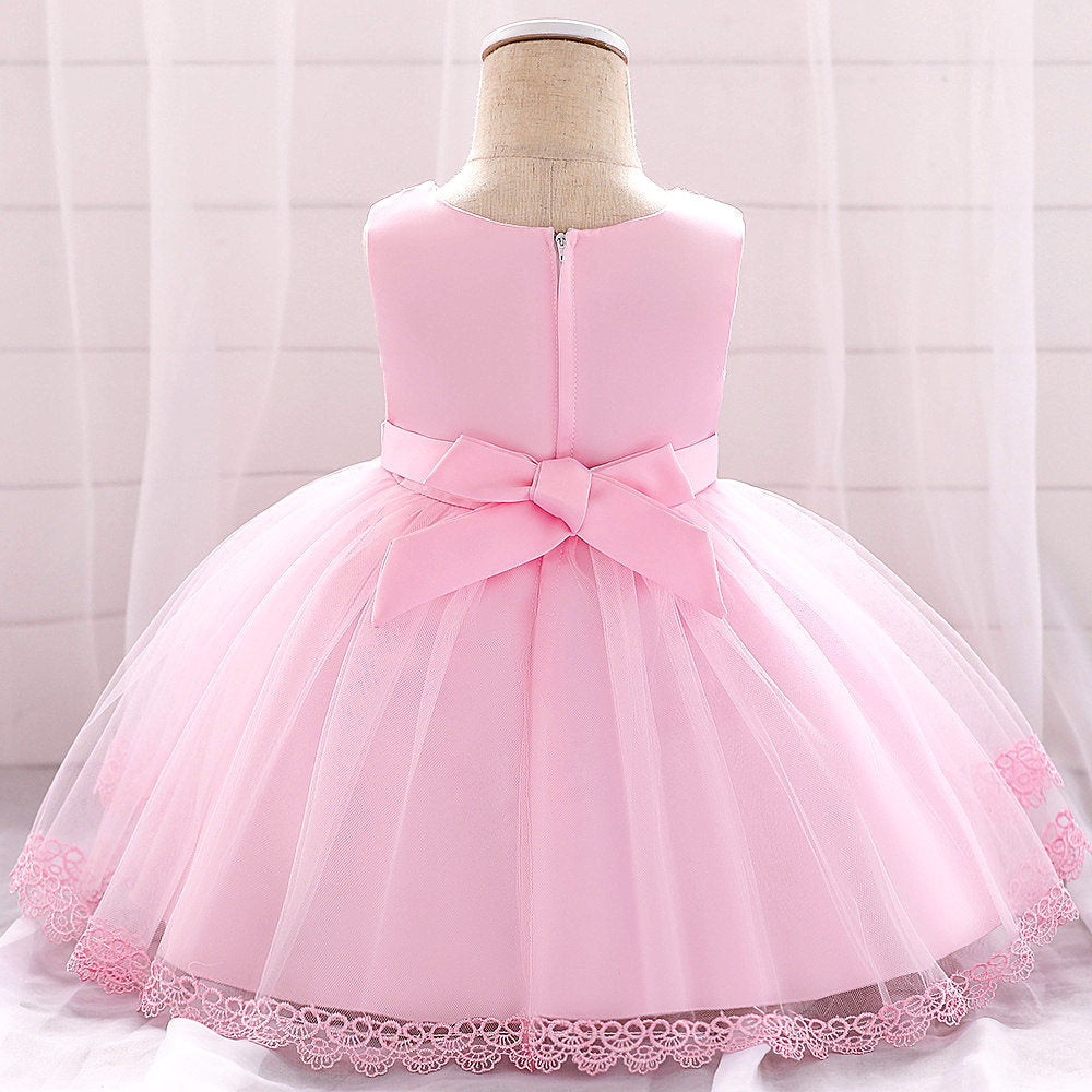baby girl's party dress--height 60cm-90cm--lace flower--pink--L1886XZ