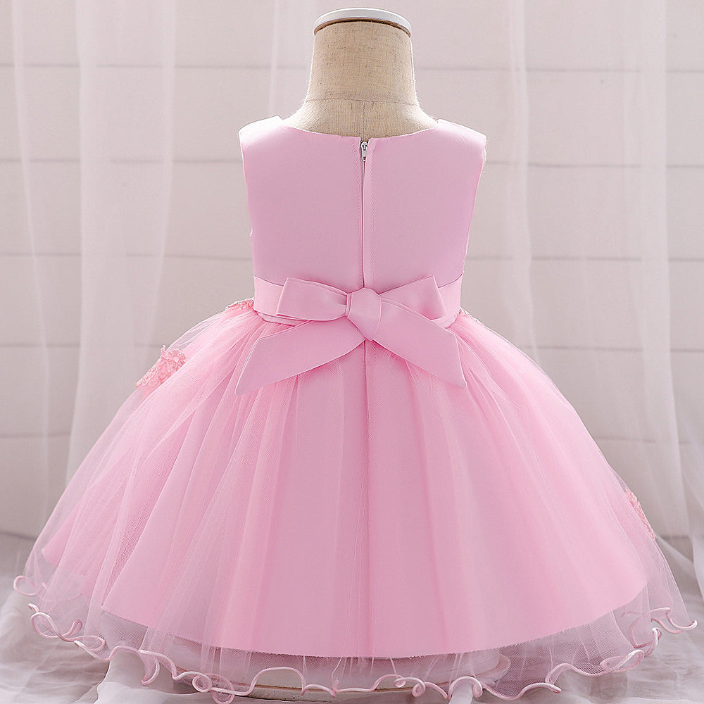 baby girl's party dress--height 60cm-90cm--lace flower--pink-L1885XZ