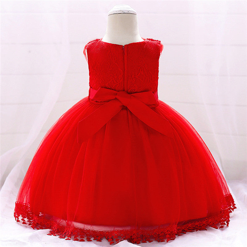 baby girl's party dress--height 70cm-90cm--lace--red--L1835XZ