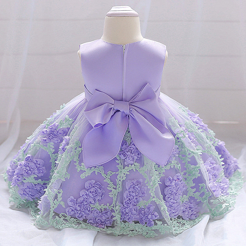 baby girl's party dress--height 70cm-90cm--3D flower--purple--L1845XZ
