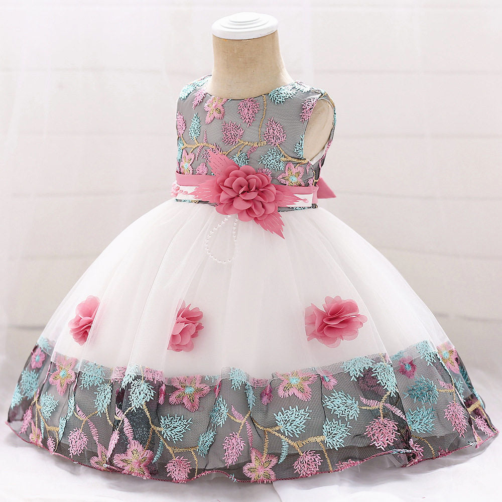 baby girl's party dress--height 70cm-90cm--embroidered flower--pink--L5045XZ