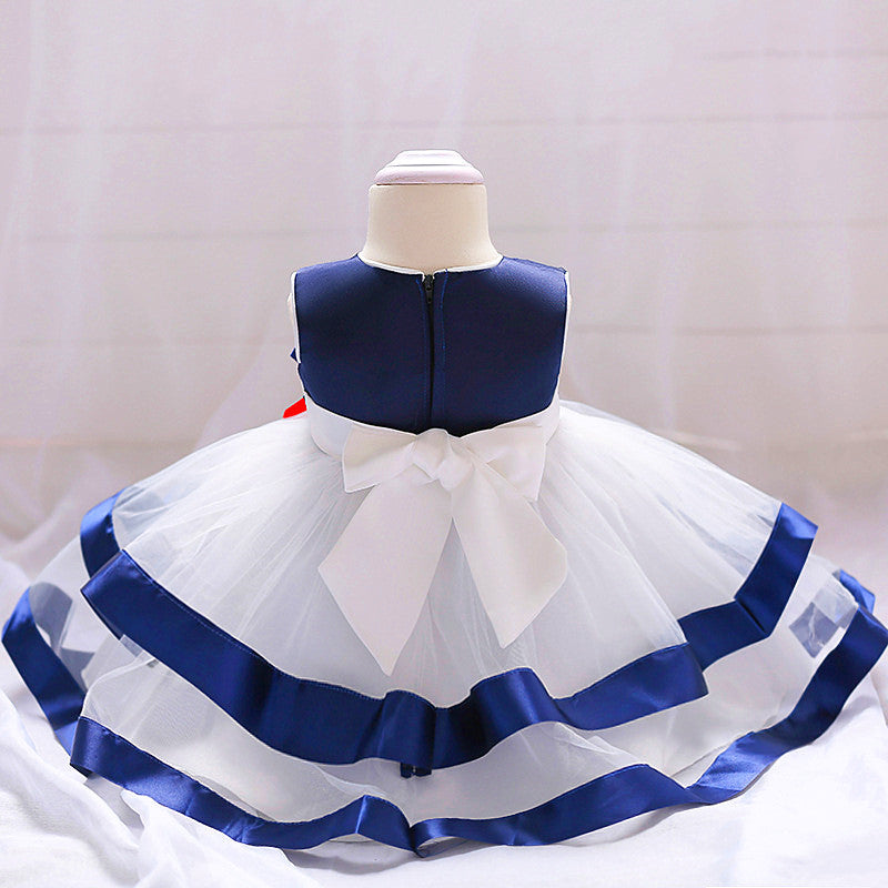 baby girl's party dress--height 70cm-90cm--lace--blue white--L1834XZ