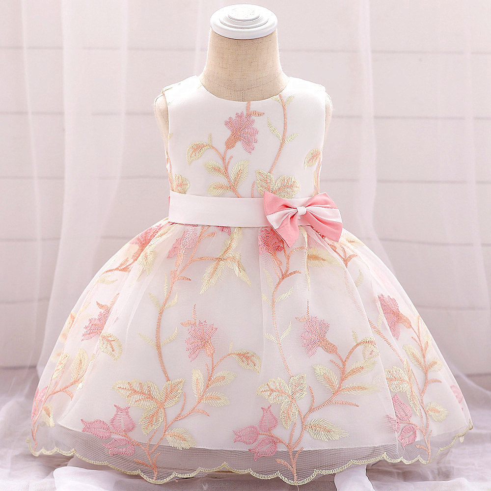 baby girl's party dress--height 60cm-90cm--embroidered flower--pink--L1887XZ