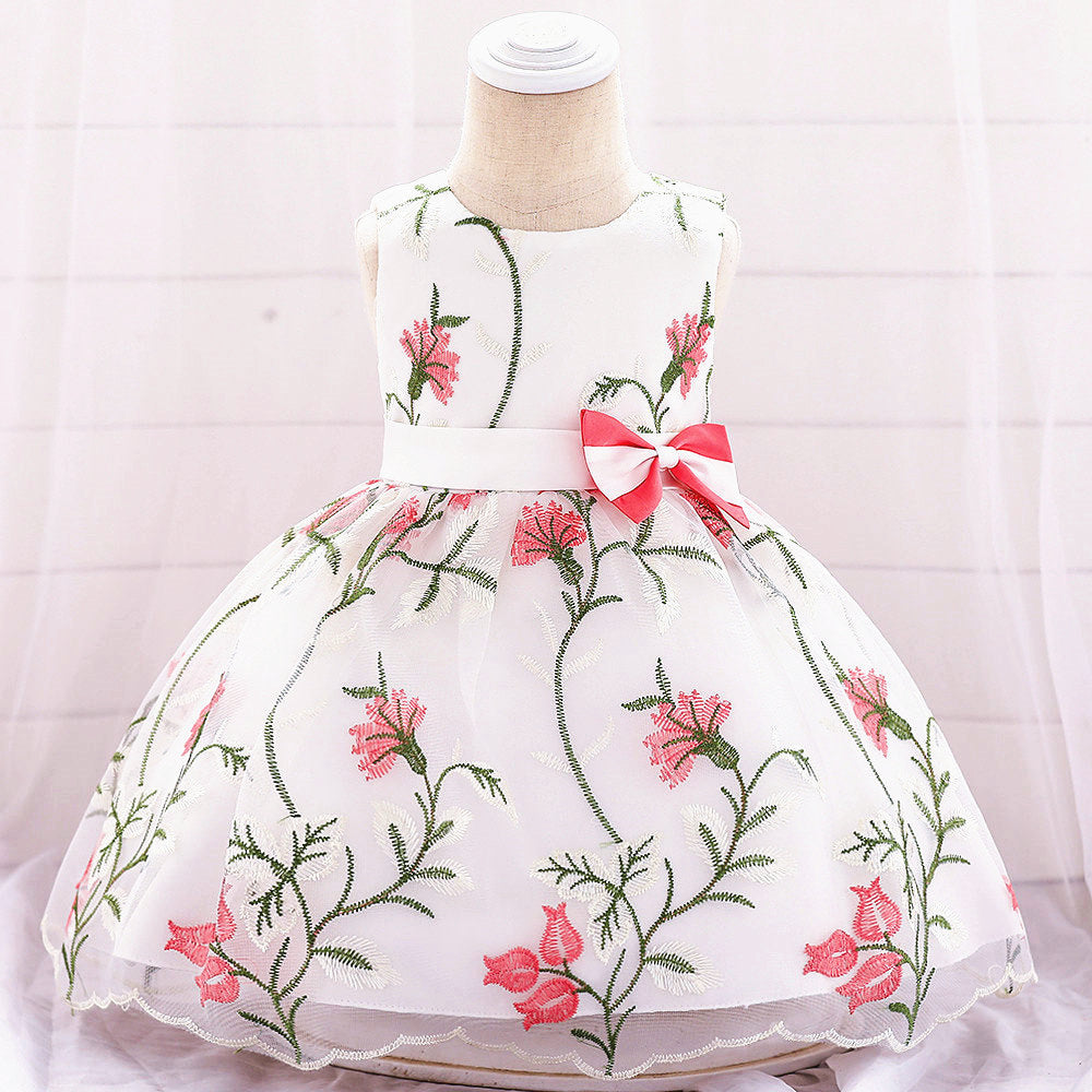 baby girl's party dress--height 60cm-90cm--embroidered flower--watermelon--L1887XZ