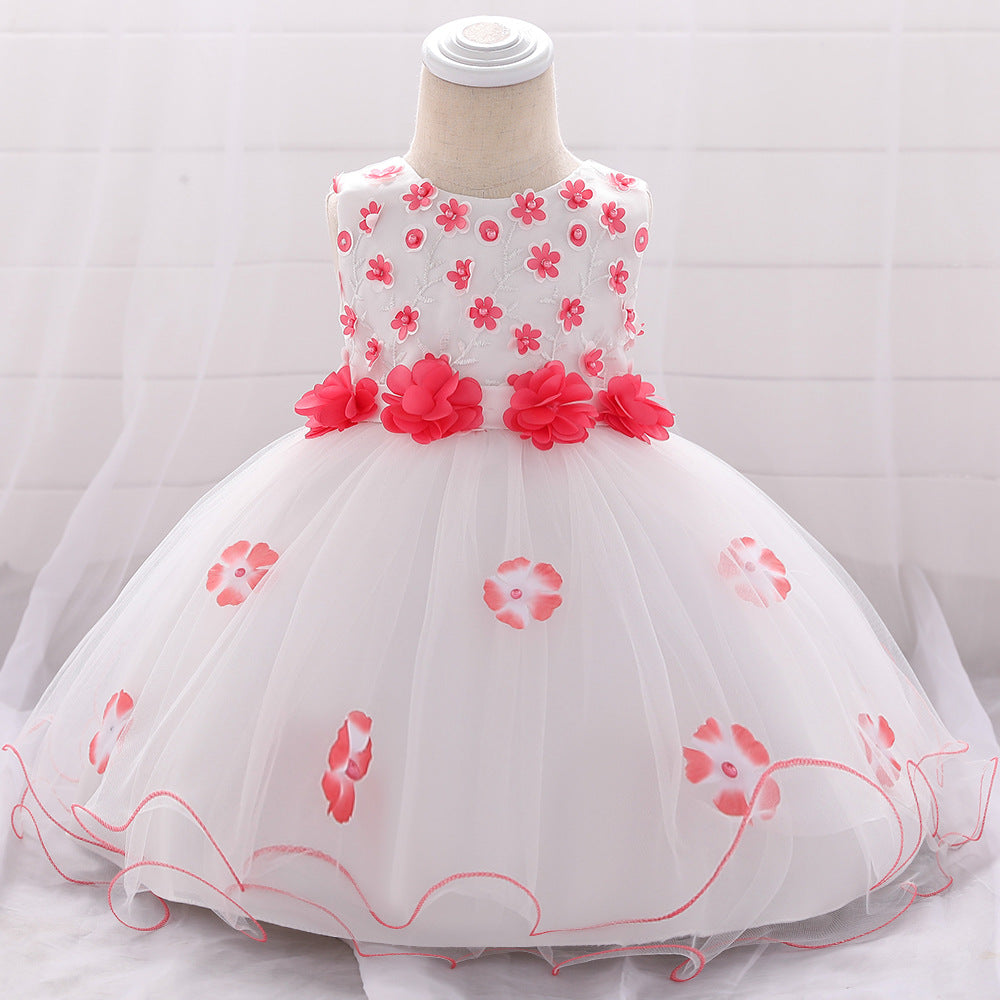 baby girl's party tiered dress--height 60cm-90cm--3D flower--watermelon--L1895XZ