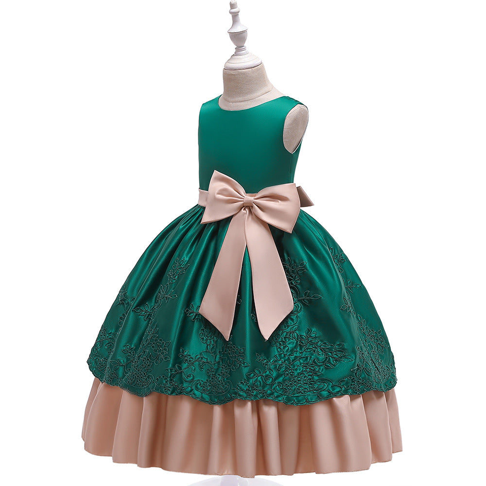 big kid's party dress--height 120cm-170cm--embroidered flower--green--LP-220