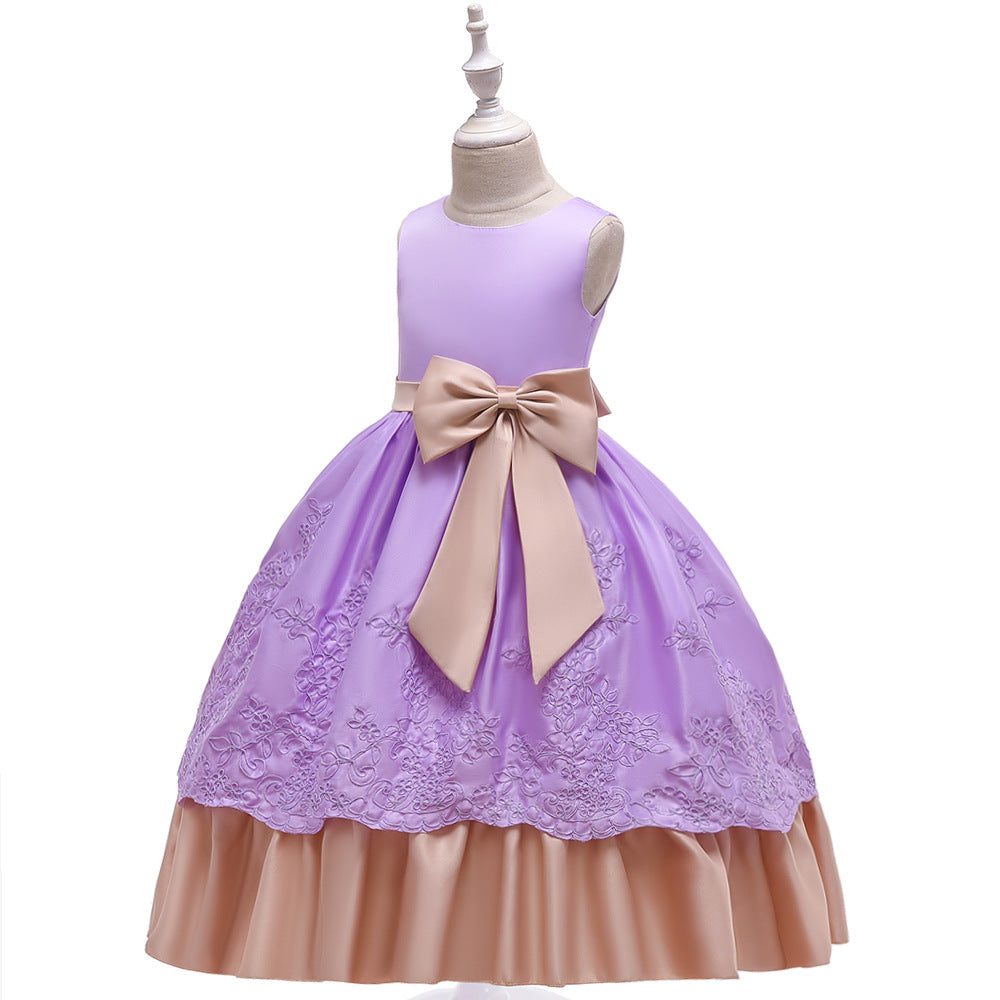 big kid's party dress--height 120cm-170cm--embroidered flower--purple--LP-220