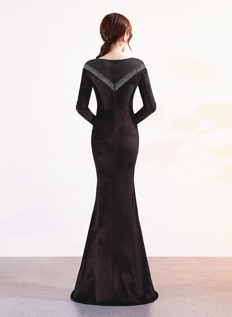 Long Fish-tail sheath Party Prom Dress--velvet---Long Sleeves--glitter stone--black--KLN-1209-1
