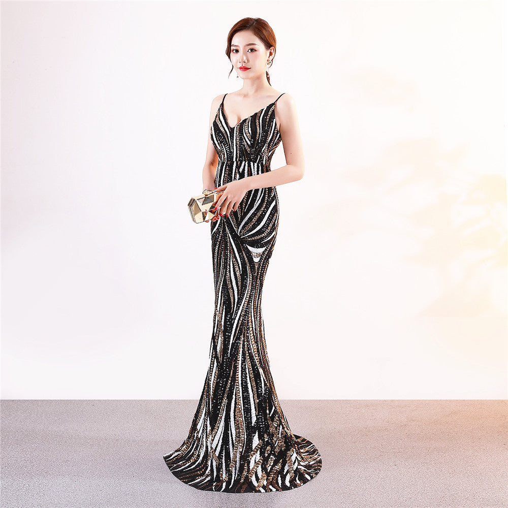 Black--sleeveless--strip--sequins--long fish-tail party evening prom fit dress KLN-16002#-1