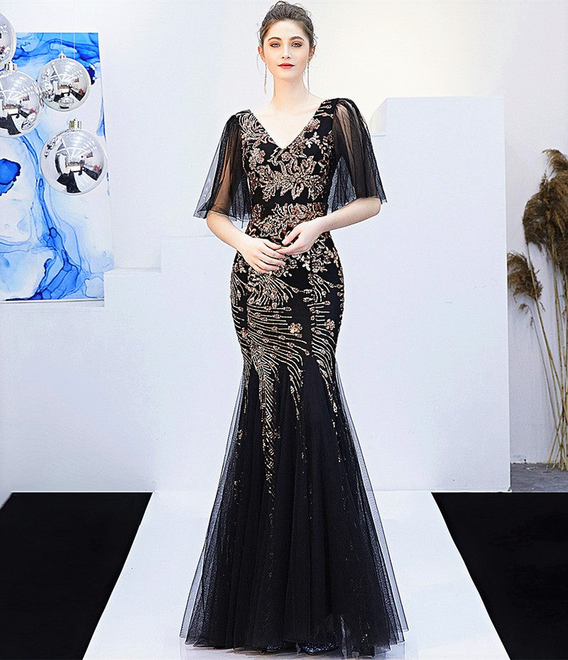 Black golden-sequins-short sleeves-V-long fish-tail party evening prom sheath dress KLN-16272#