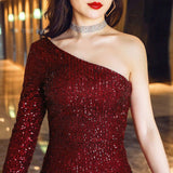 Long sheath sequins party prom dress--burgundy red--side slit--one long sleeves--KLN-16511#-1