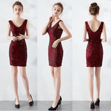 Short sheath sequins party prom dress-sleeveless-V neck and back-black,burgundy red,red,navy blue,champagne-KLN-16193#