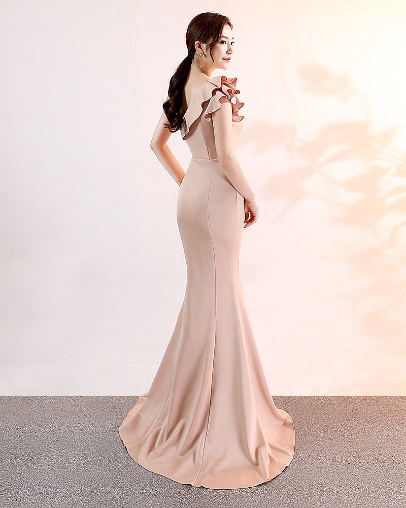 Champagne--slopeing shoulder--sleeveless--long fish-tail fit party evening prom dress KLN-16023#-1