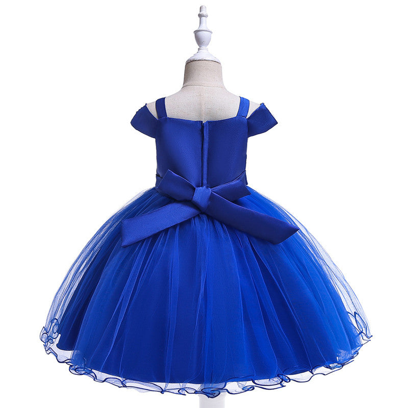 children party dress--3-8 years old--beads--royal blue--L5082