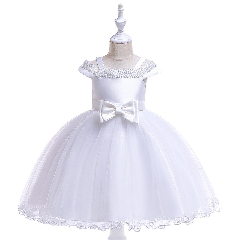 children party dress--3-8 years old--beads--white--L5082