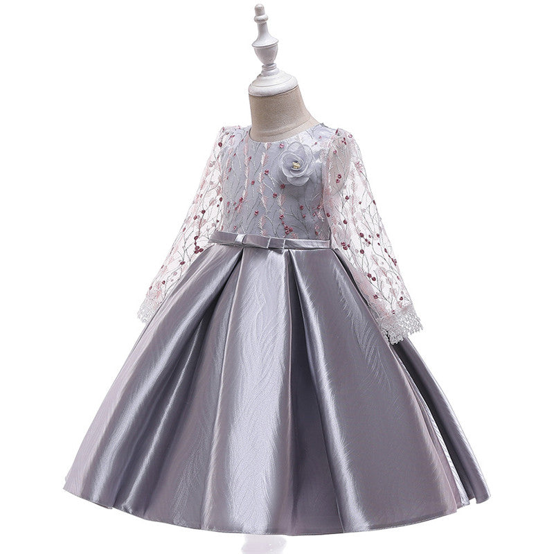 children party dress--3-8 years old--lace embroidered flower--grey--L5109