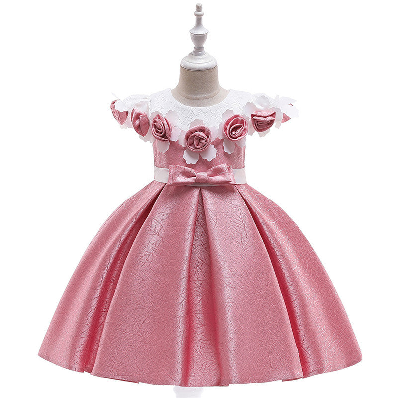 children party dress--3-8 years old--lace flower--pink--L5121