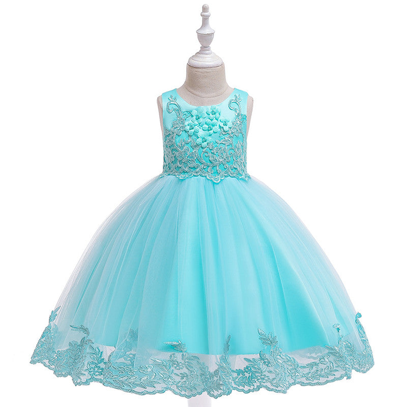 children rainball party dress--3-8 years old--lace embroidered flower--blue--L5097
