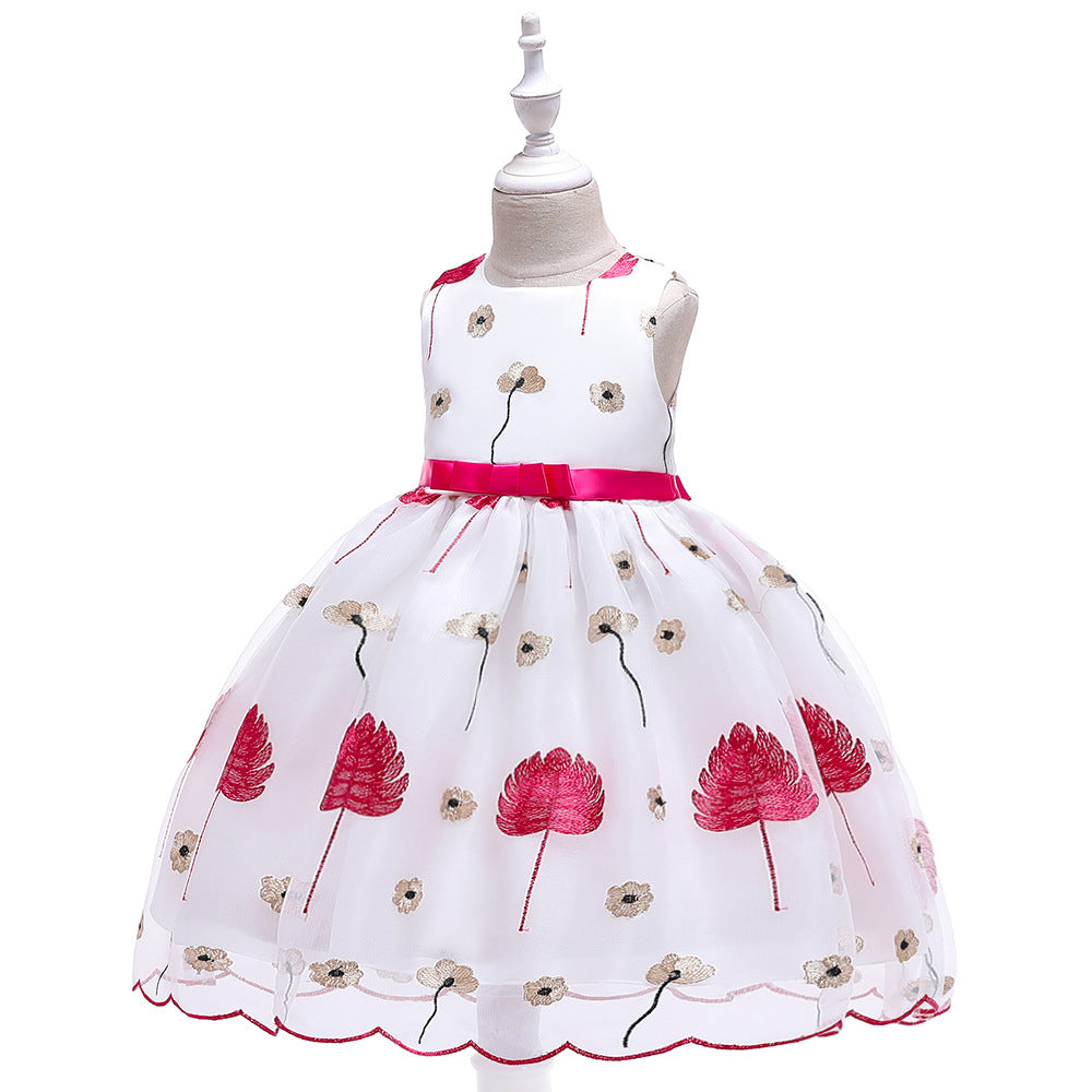 children party dress--height 110cm-150cm--embroidered flower--hot pink--L5140