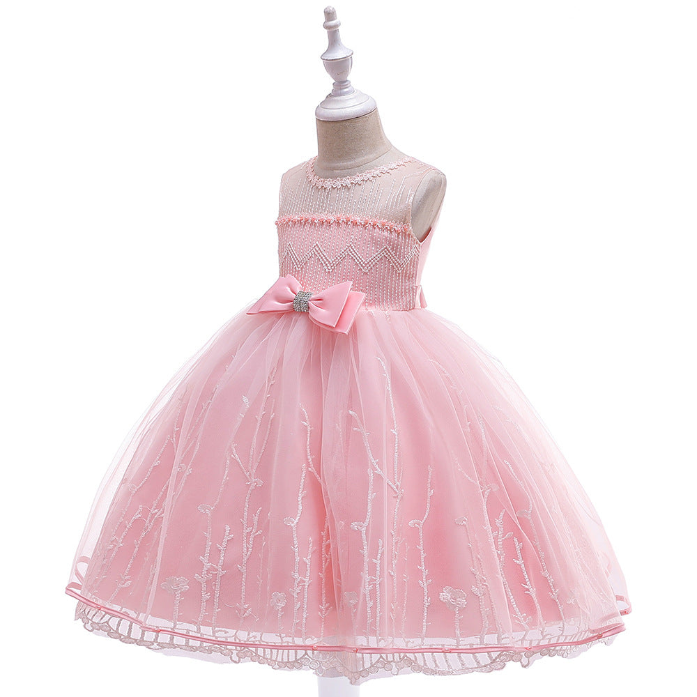 children party dress--height 110cm-150cm--embroidered flower--pink--L5120