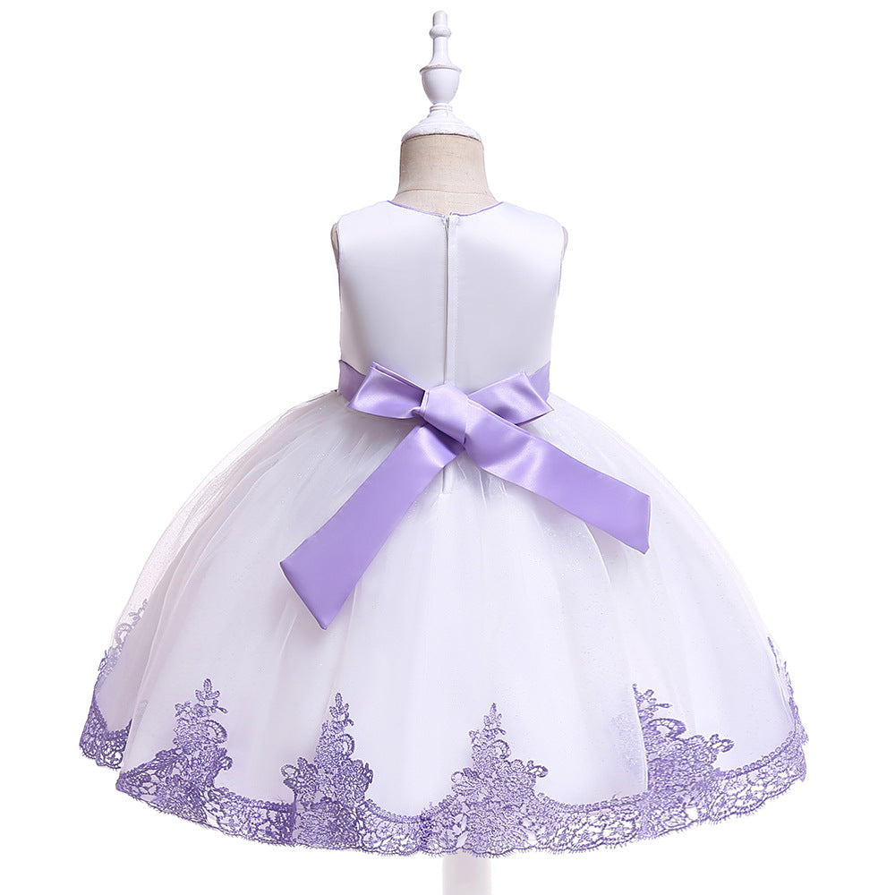 children party dress-- height 110cm-150cm--lace flower--purple--L5119