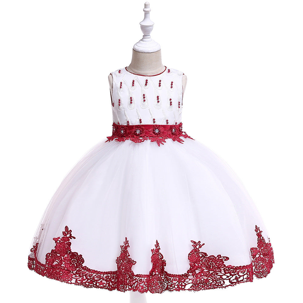 children party dress-- height 110cm-150cm--lace flower--red--L5119