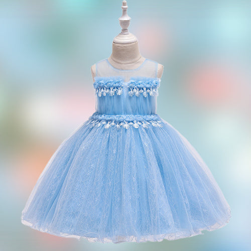 children party dress--height 110cm-150cm--lace flower--light blue--L5132