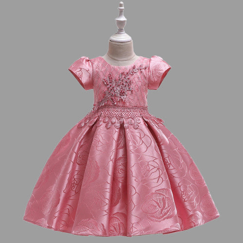 children party dress--height 110cm-150cm--lace flower--pink--L5129