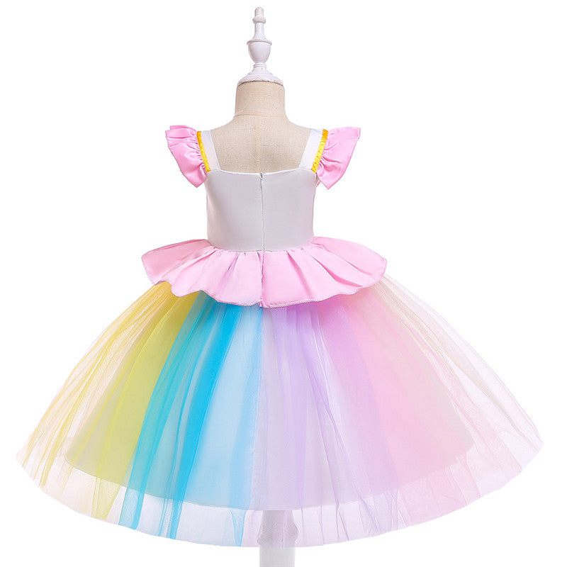 children rainball party dress--3-8 years old--lace flower--L5090