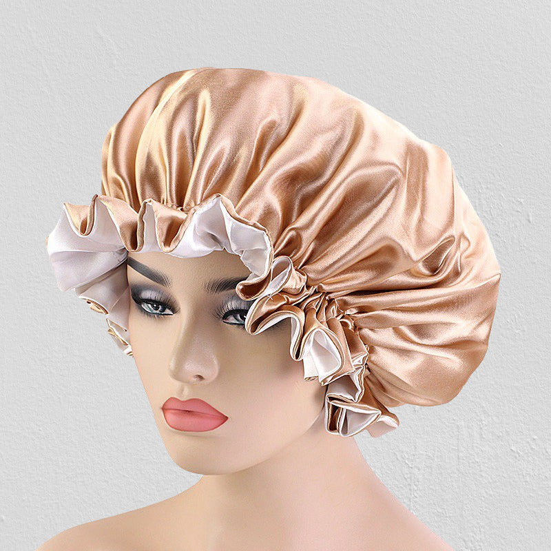 Extra large satin sleeping chemo salon bonnet--wide band--reversible--6 soild colors JD-TJM-443A