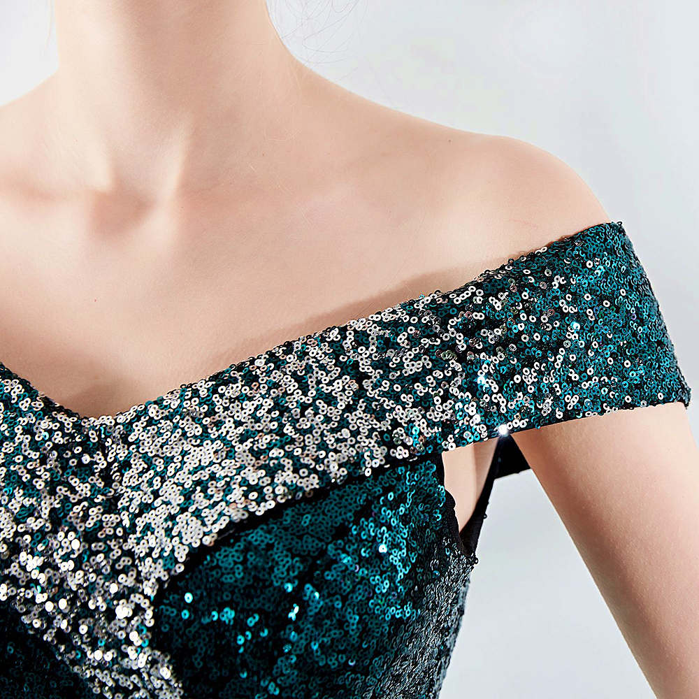 Short sheath party prom dress-gradient sequins-boad neck bare shoulders-black,green,navy blue,burgundy red-KLN-16181#