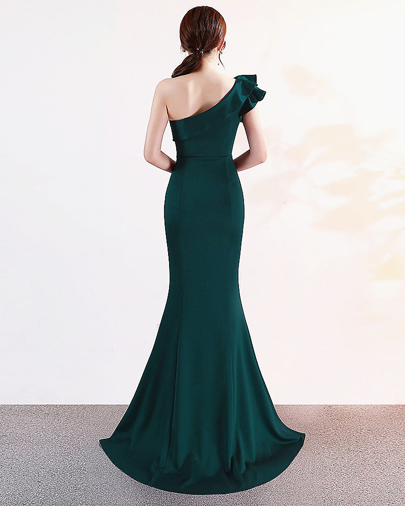 Green--slopeing shoulder--sleeveless--long fish-tail fit party evening prom dress KLN-16023#-4