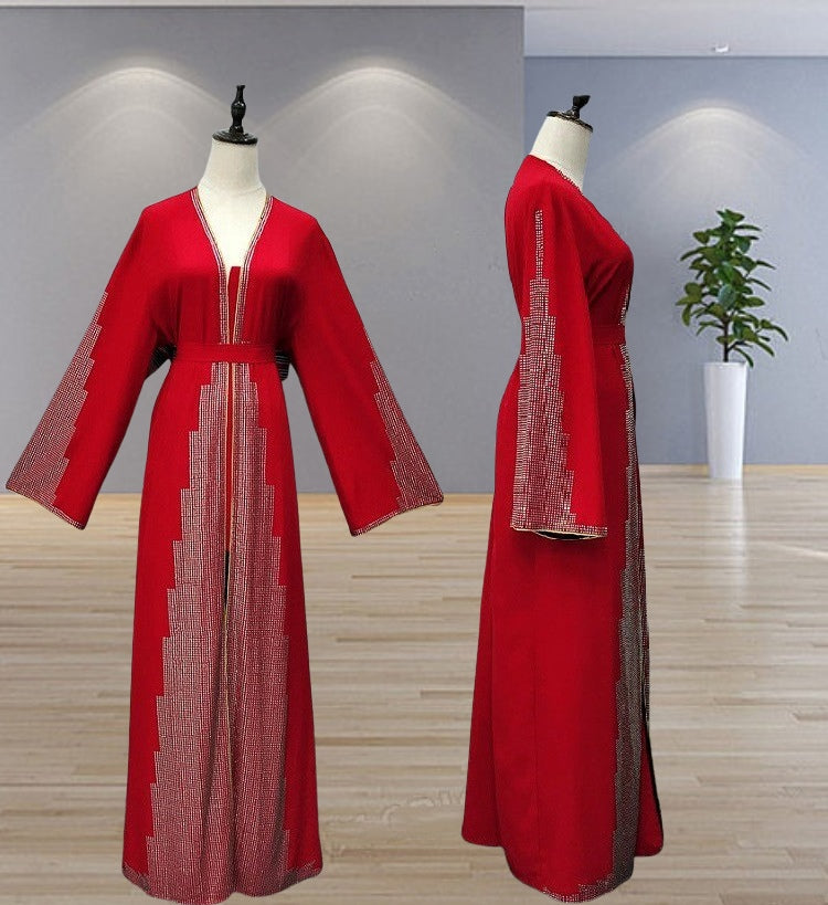 High quality muslim party abaya long cardigan--red,black--with bling bling crystal LR259