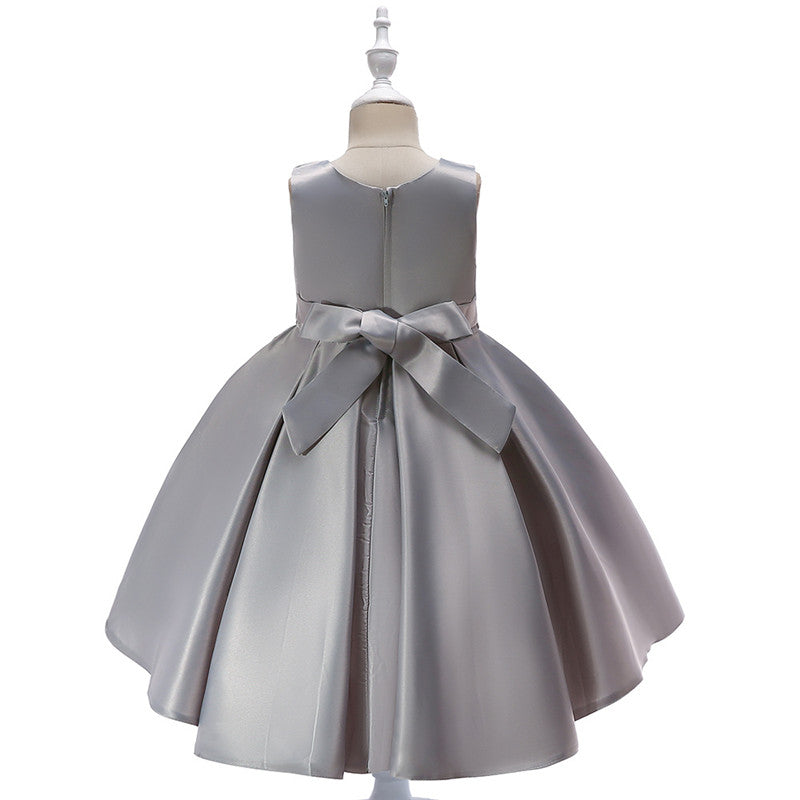 kid's party dress--height 110-150cm--sequins--grey--T5035