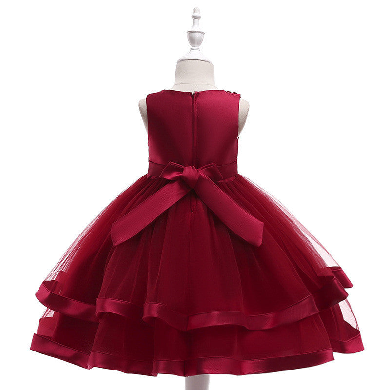 kid's party dress--110cm-150cm--beads--burgundy--L5017